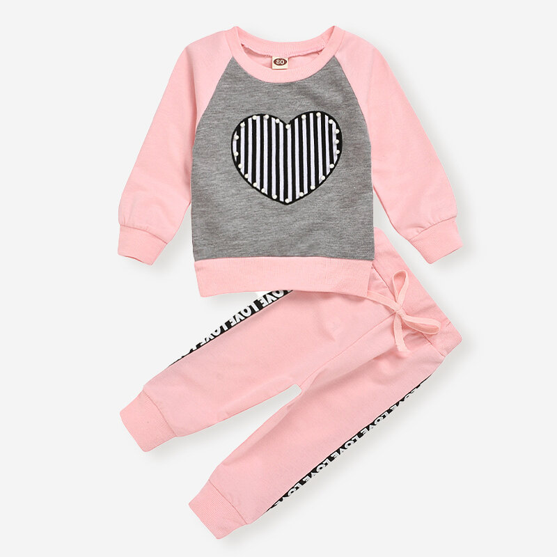 Girl's Print Long Sleeves Casual Clothing Set For 1-7Y