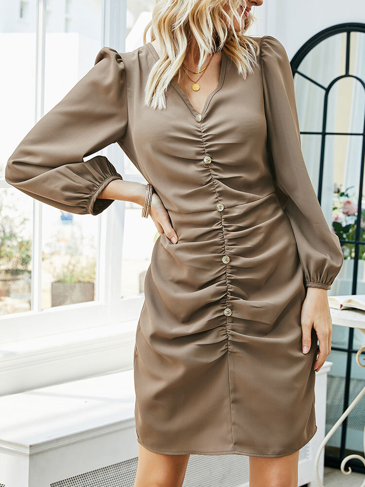 Solid Long Sleeve Pleated Button V-neck Women Casual Dress