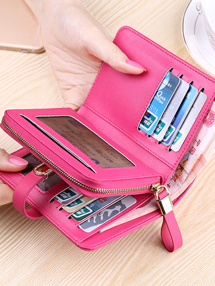 Women Genuine Leather 9 Card slots Small Wallet Card Holder Purse Coin Bag