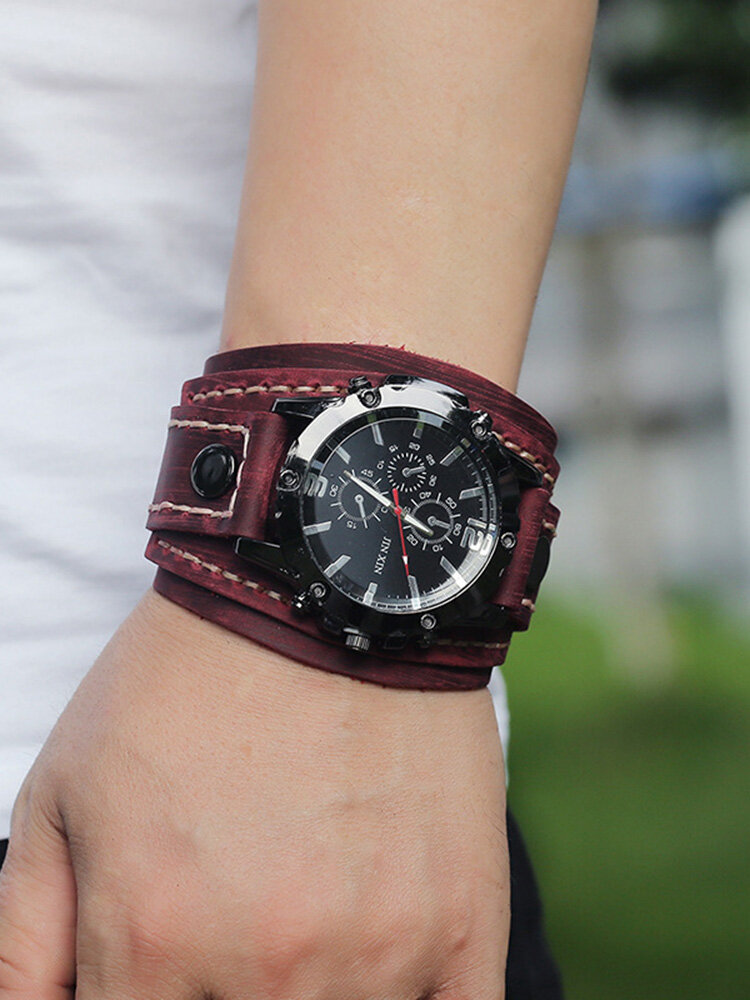 Vintage Cow Leather Bracelet Watch Hand Stitched Fake Small Three-Hand Men Quartz Watch