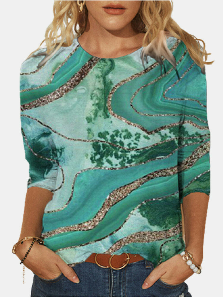 Vintage Print O-neck Long Sleeve Plus Size Casual T-shirt for Women