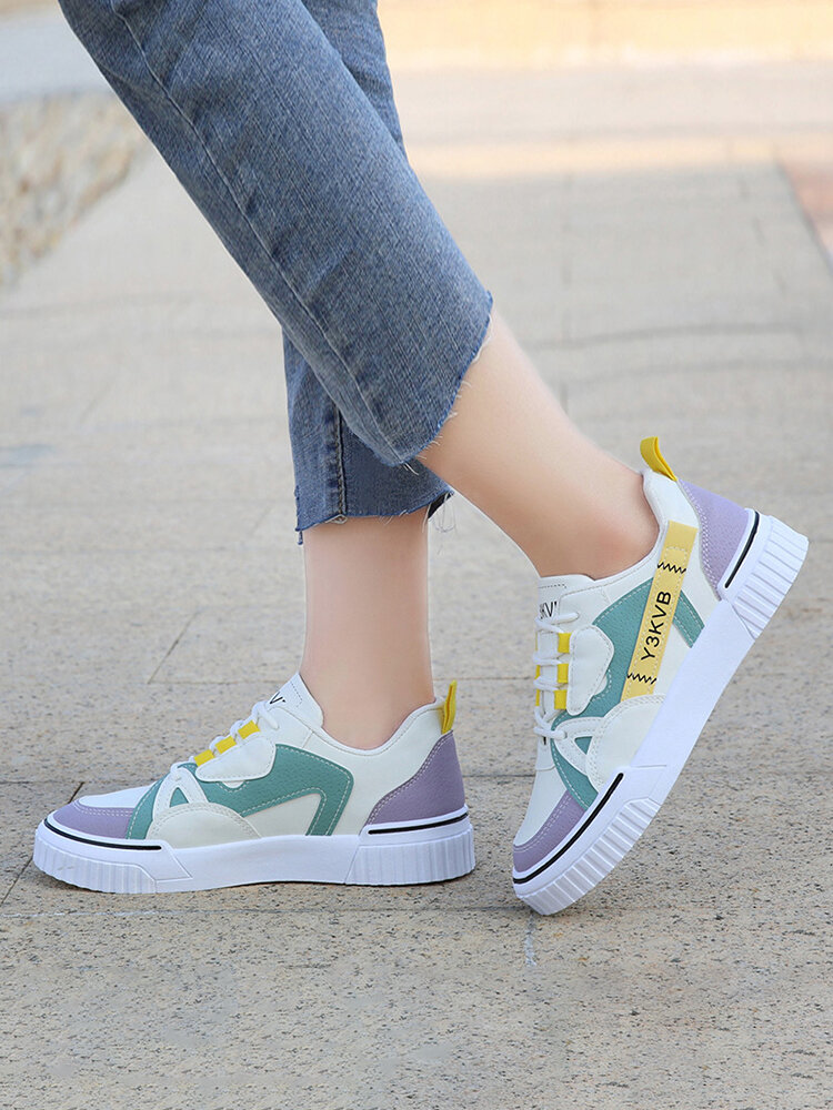 Womens Fashion Color Block Skate Shoes Comfy Lace-up Casual Sneakers