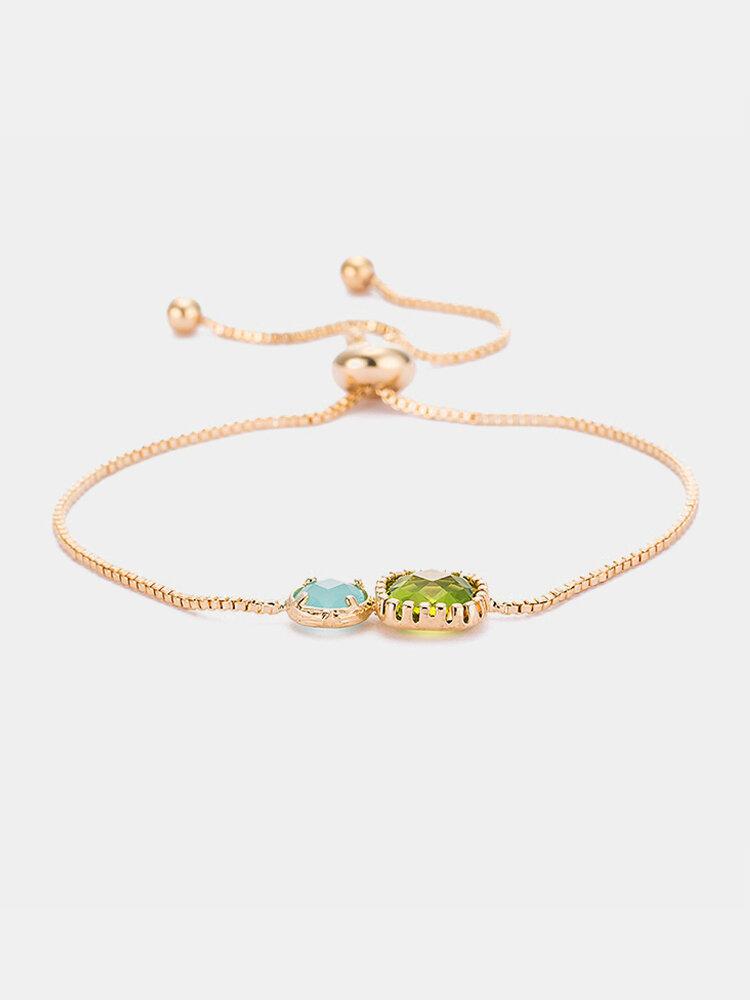 Bohemian Women Bracelet Square and Circle Double Crystal Alloy Bracelet