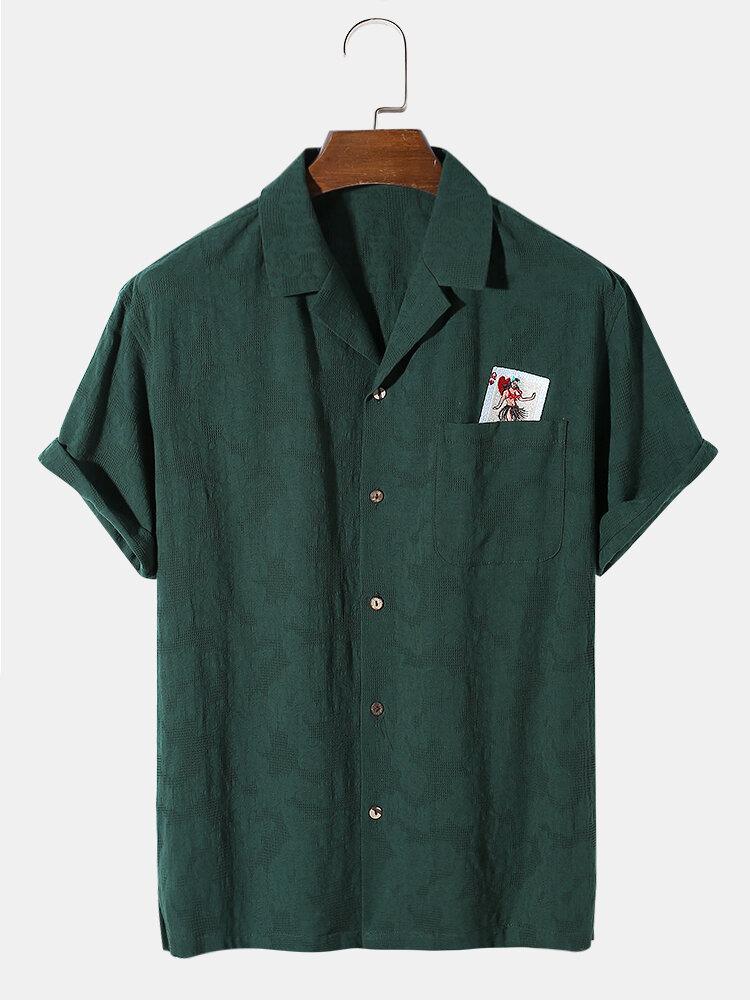 メンズ綿100%通気性ポーカー刺繡テクスチャリビアカラーホリデーシャツ