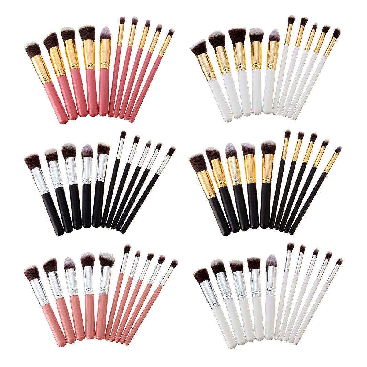 10個の化粧ブラシセットフェイスパウダーブラッシュコンターファンデーション化粧ブラシ