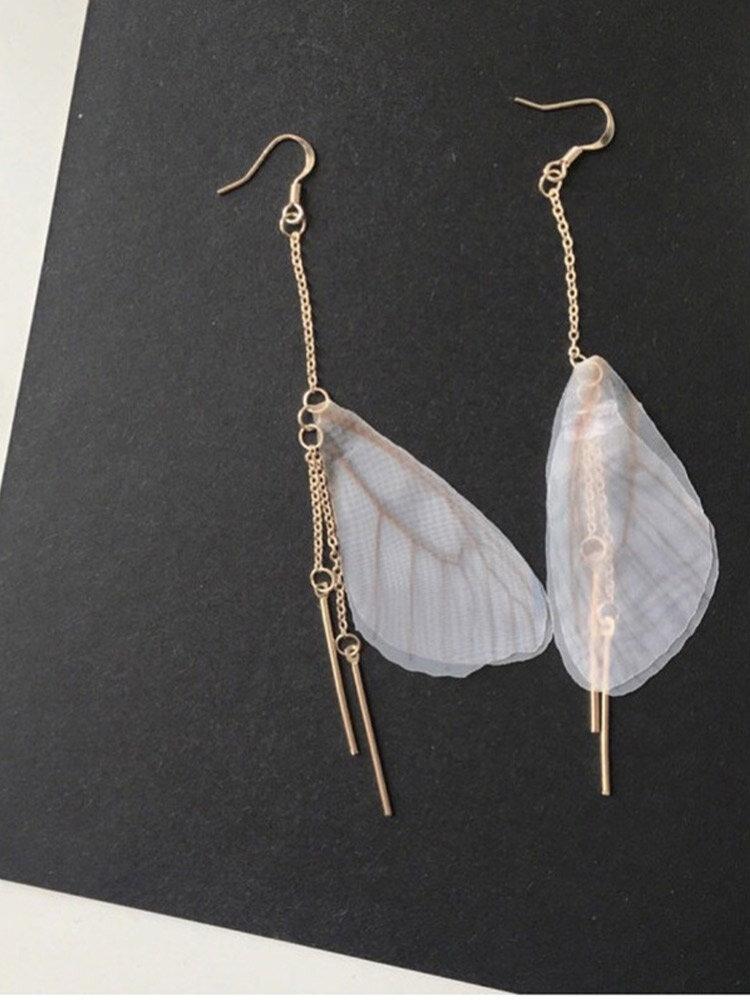 Vintage Brief Butterfly Wings Long Chain Tassel Alloy Earrings