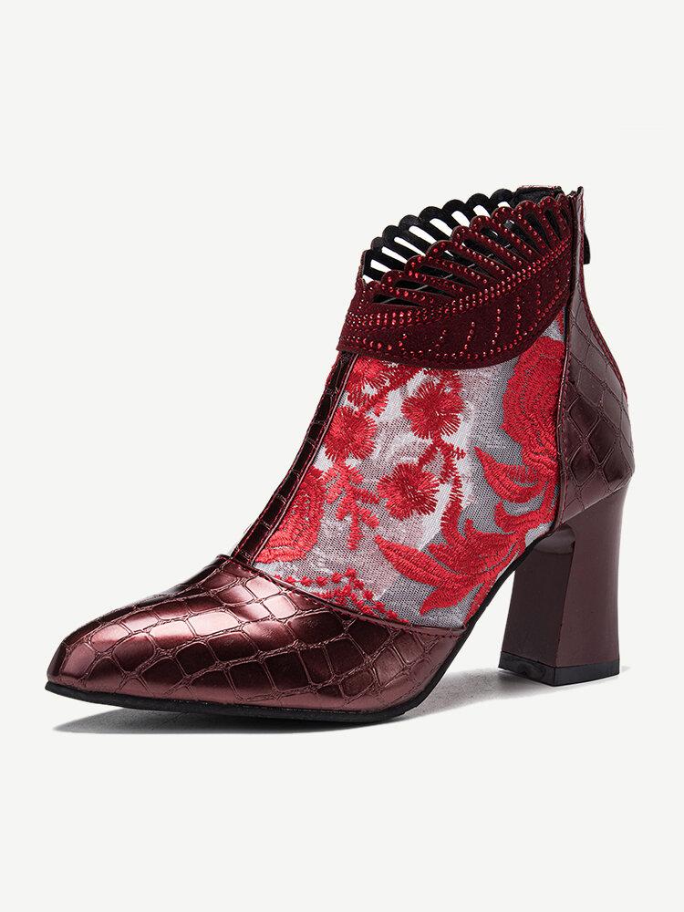 Women Elegant Veins Flowers Embroidered Lace Zipper Chunky Heel Summer Boots