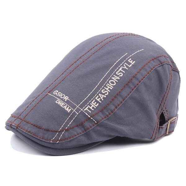 Men Women Letter Embroidery Fashion Beret Hat Casual Forward Sunshade Adjustable Hat