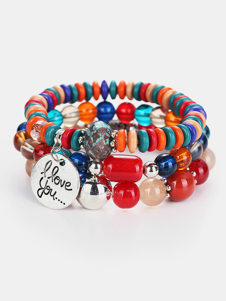 Bohemian Colorful Multilayer Beaded Bracelet with I Love You Charm Chain Gift for Her