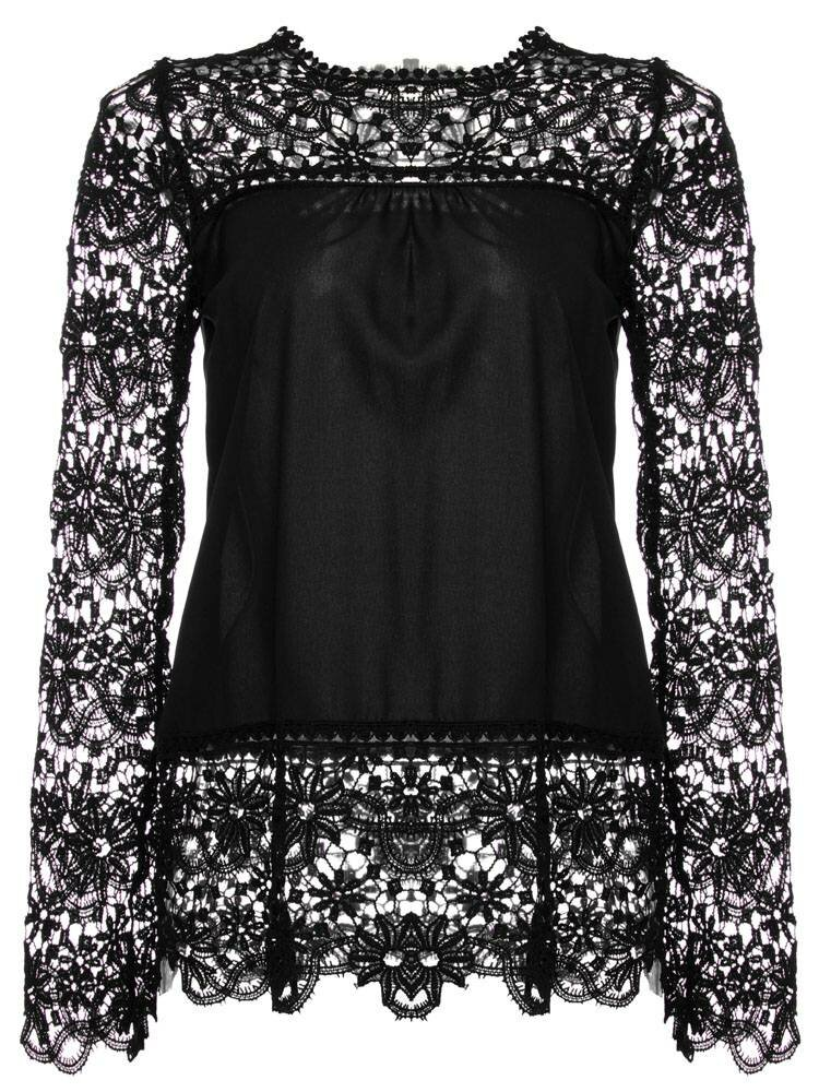 Chiffon Lace Hollow Out Loose Shirts Long Sleeve O-Neck Women Blouses