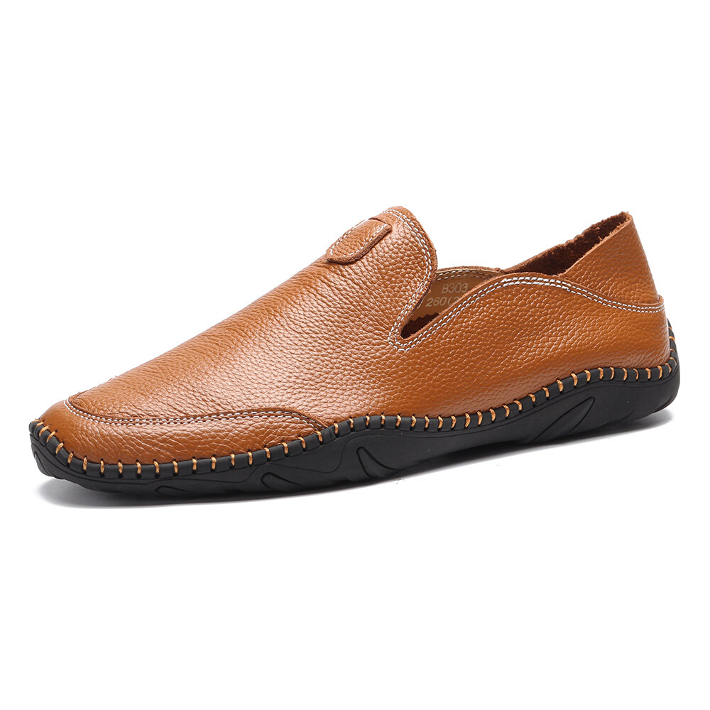 Large Size Men Genuine Leather Hand Stitching Comfy Soft Loafers