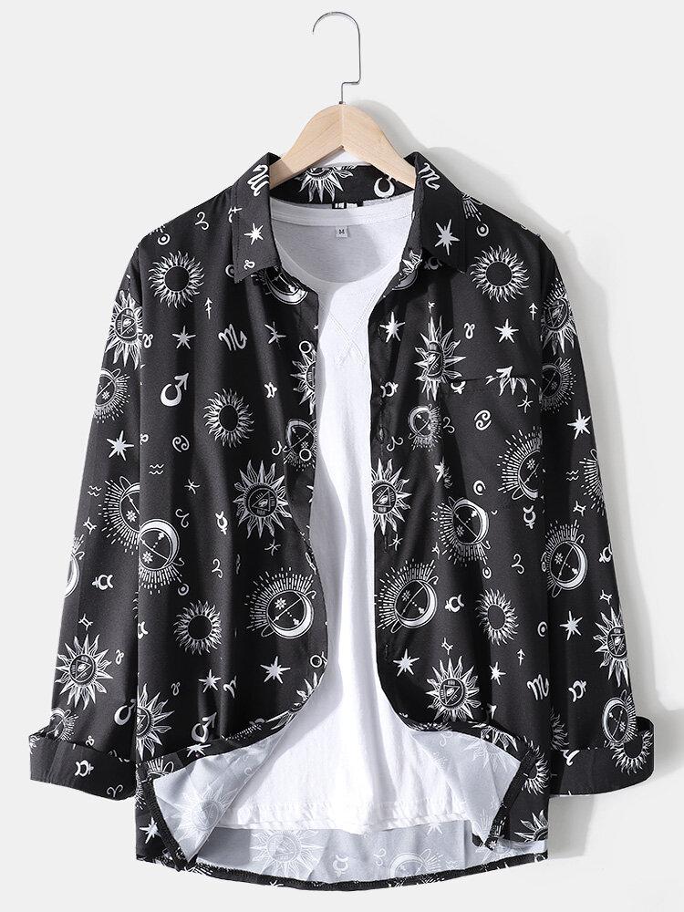 Mens Allover Galaxy Print Lapel Casual Long Sleeve Shirts With Pocket