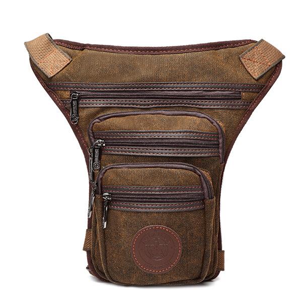 Cellphone Pocket Solid Canvas Leg Bag Vintage Casual Waist Bag For Men