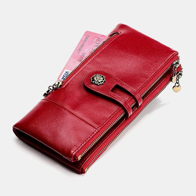 Damen Antimagnetische Mehrfachsteckplätze aus echtem Leder Rfid 14 Kartensteckplätze Reißverschluss Bifold Long Wallet