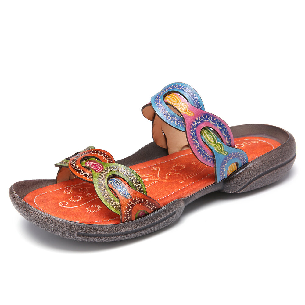 SOCOFY Genuine Leather Retro Printed Open Toe Slides Comfy Flat Sandals