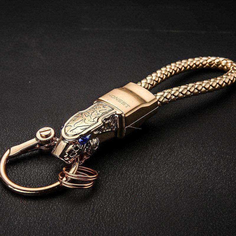 Fashion Rotatable Rhinestones Car Key Ring Holder Leopard Head Leather Keychain Unique Gift