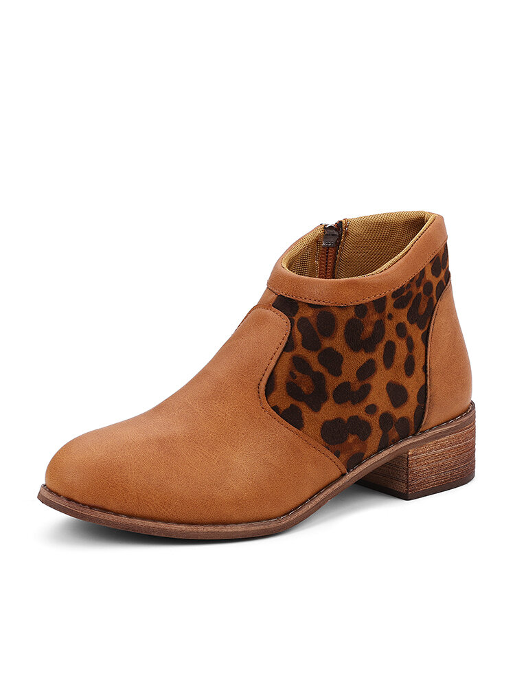 Casual Splicing Leopard Side Zipper Chunky Heel Cowboy Ankle Boots for Women