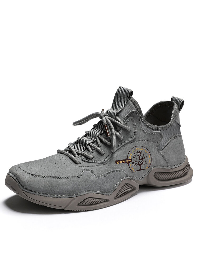 Men Leather Breathable Non Slip Soft Sole Grey Brown Casual Sneaker