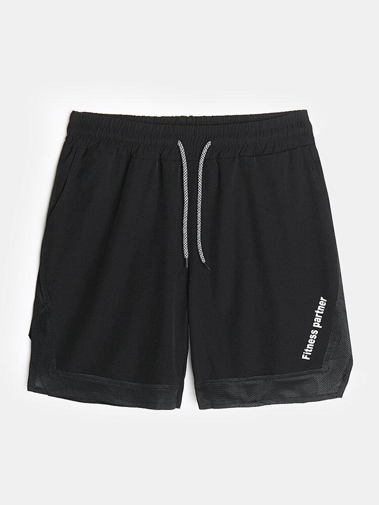Mens Mesh Stitching Side Split Quick Dry Drawstring Swim Shorts