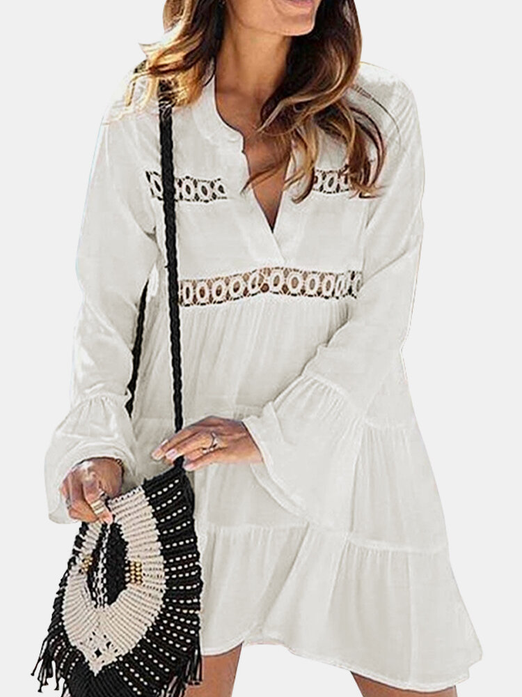 Solid Color Hollow Ruffle Long Sleeve V-neck Layered Dress