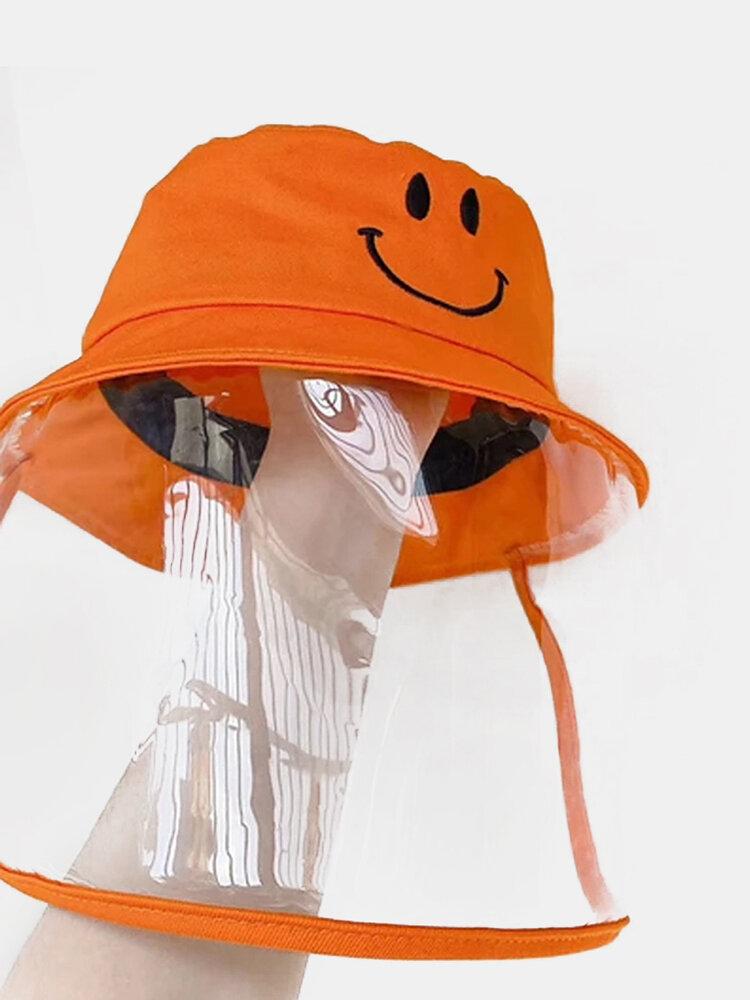 Children's Fisherman Hat Detachable Face Screen Windproof Transparent Dust Cap