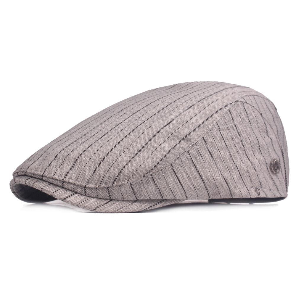 Mens Vintage Washed Stripe Cotton Beret Hat Casual Adjustable Breathable Newsboy Cabbie Cap