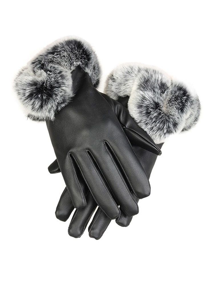Cold Winter Warm Women Rabbit Fur Artificial Leather Screen Touch Windproof Gloves