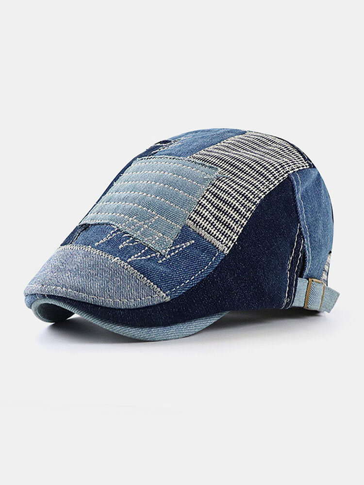 Men Cotton Made-old Patchwork Color Embroidery Personality Forward Hat Beret Hat  Flat Caps