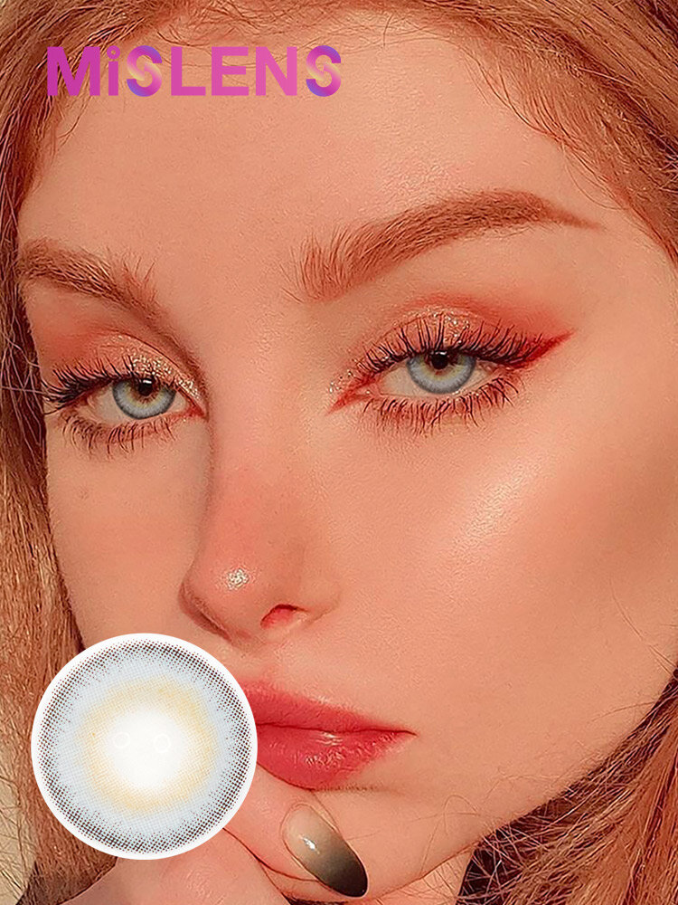 2 Pcs Iceland Gray Non-prescription Yearly Colored Contact Lenses