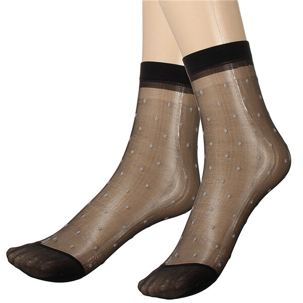 Image of 10 pairs Lady Girl Lace Ultra-thin Fiber Denier Sheer Ankle High Pop Dots Socks
