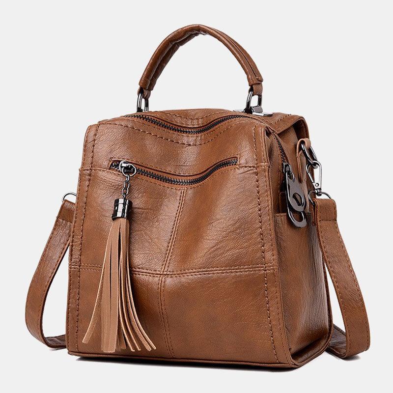 Женский универсальный рюкзак Анти Theft Tassel через плечо с несколькими карманами Сумка Рюкзак