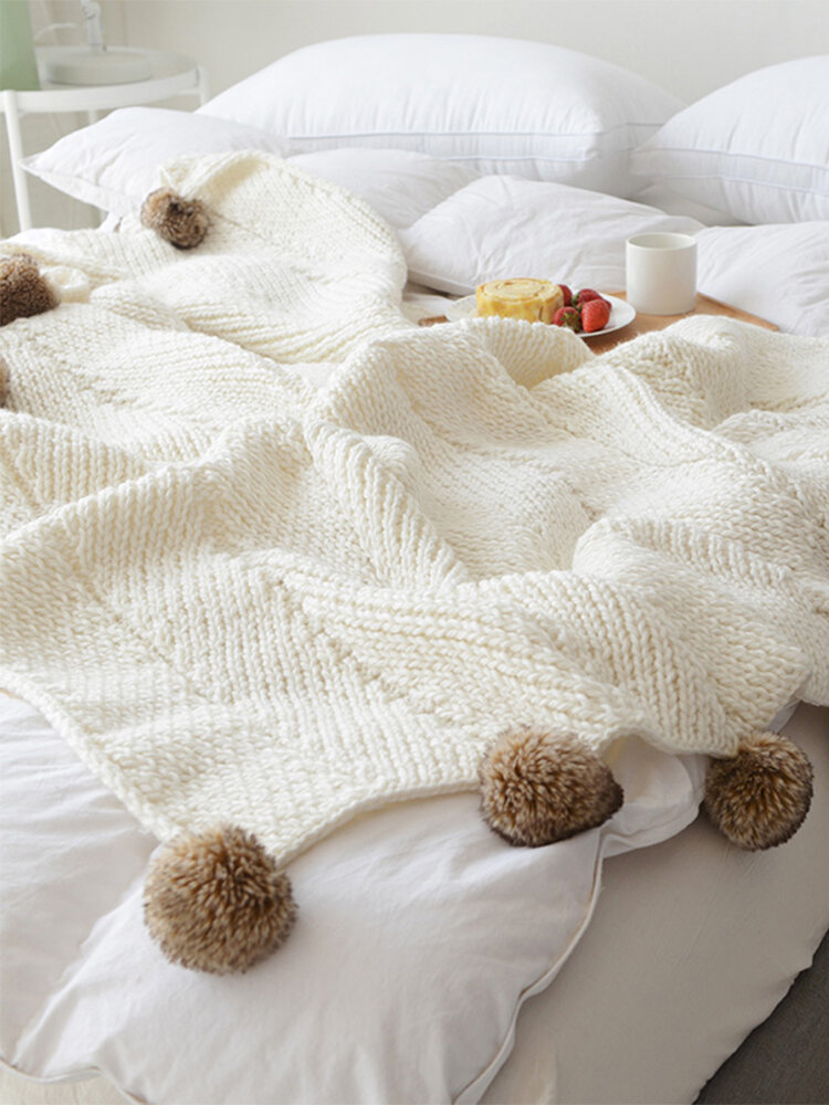 Knitted Ball Throw Blanket Autumn Spring Soft Sleeping Blanket Sofa Cover Blanket Knee Blanket