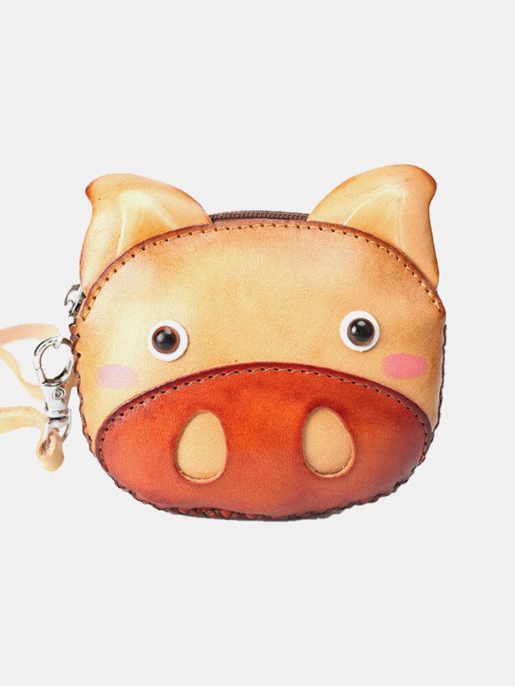 महिलाओं असली लेदर प्यारा कार्टून पशु सुअर आकार छोटा सिक्का बैग बटुआ