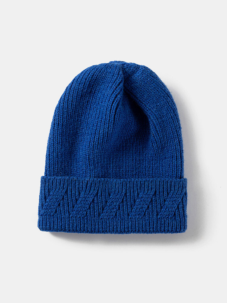Unisex Knitted Solid Color Jacquard Brimless Flanging Outdoor Warmth Beanie Hat