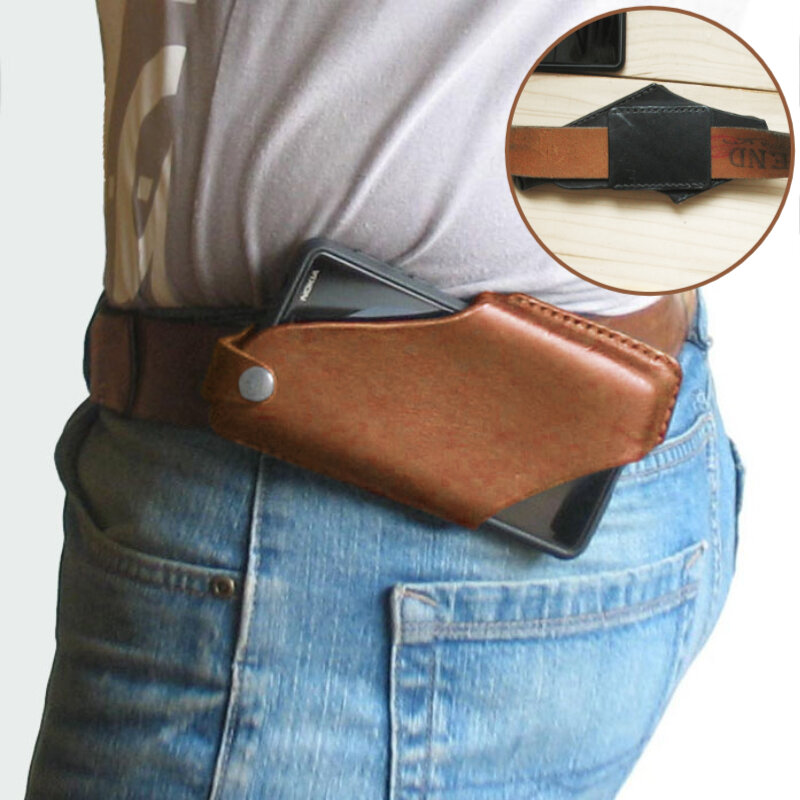 Men EDC Genuine Leather 6.5 Inch Phone Holder Phone Case Waist Belt Bag