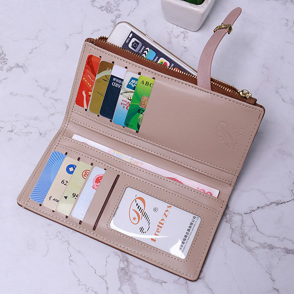 Women PU Leather 9 Card Slot Long Wallet Solid Casual Phone Purse
