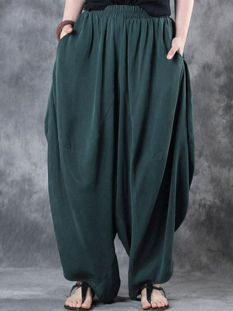 Loose Solid Elastic Waist Harem Pants For Women