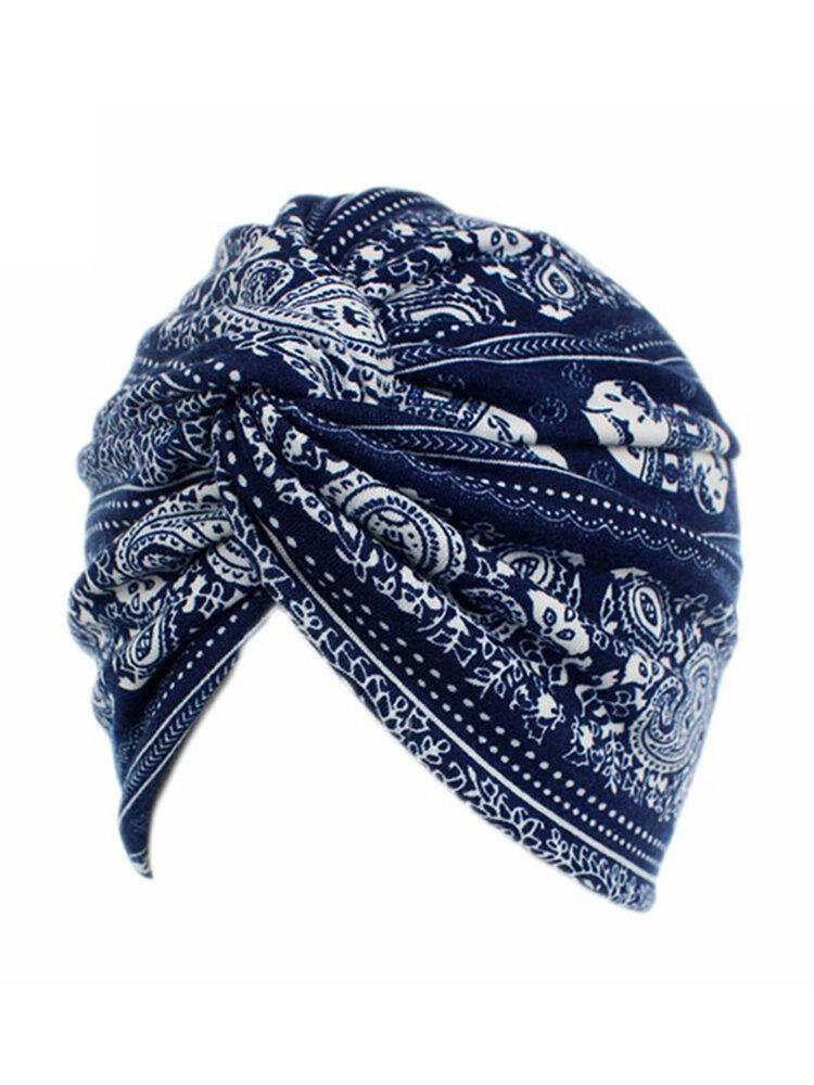 Chapeau style rural en coton turban floral bonnet chimiothérapie pour femme