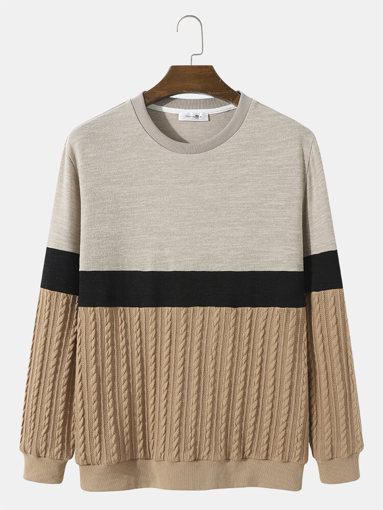 Mens Cable Knit Color Block Patchwork Casual Pullover Sweatshirts