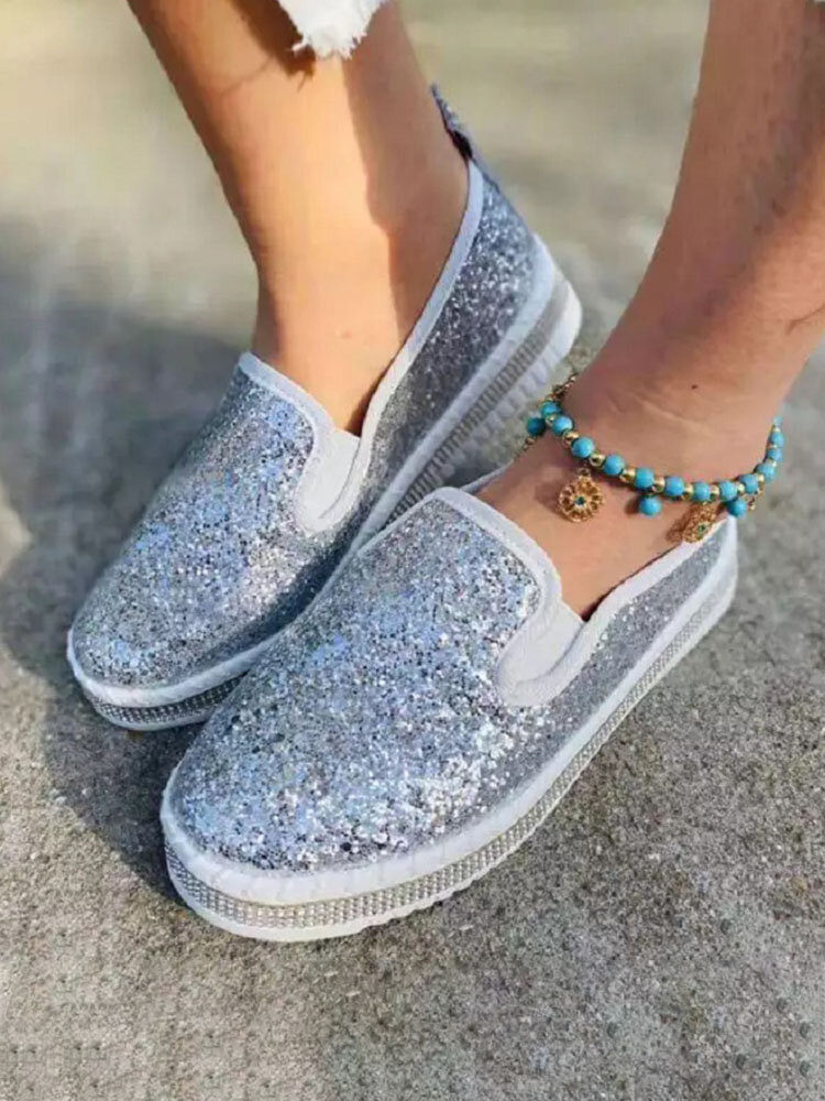 Women Large Size Fashion Sequined Decor Comfy Wearable Casual Slip On Platform Shoes
