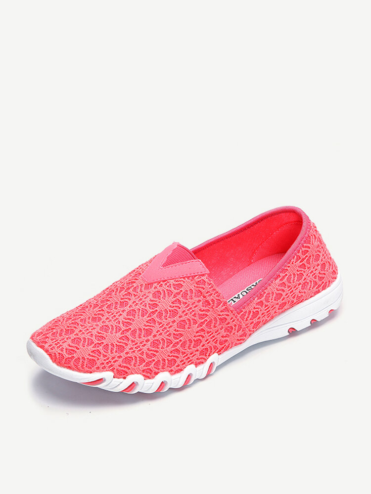 Lace Breathable Casual Soft Light Flat Trainers For Women
