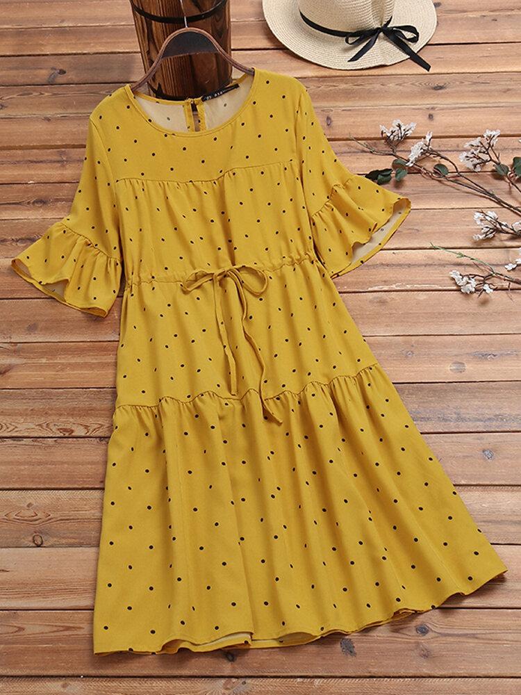 Polka Dot Print Elastic Waist Ruffle Sleeve Plus Size Casual Dress