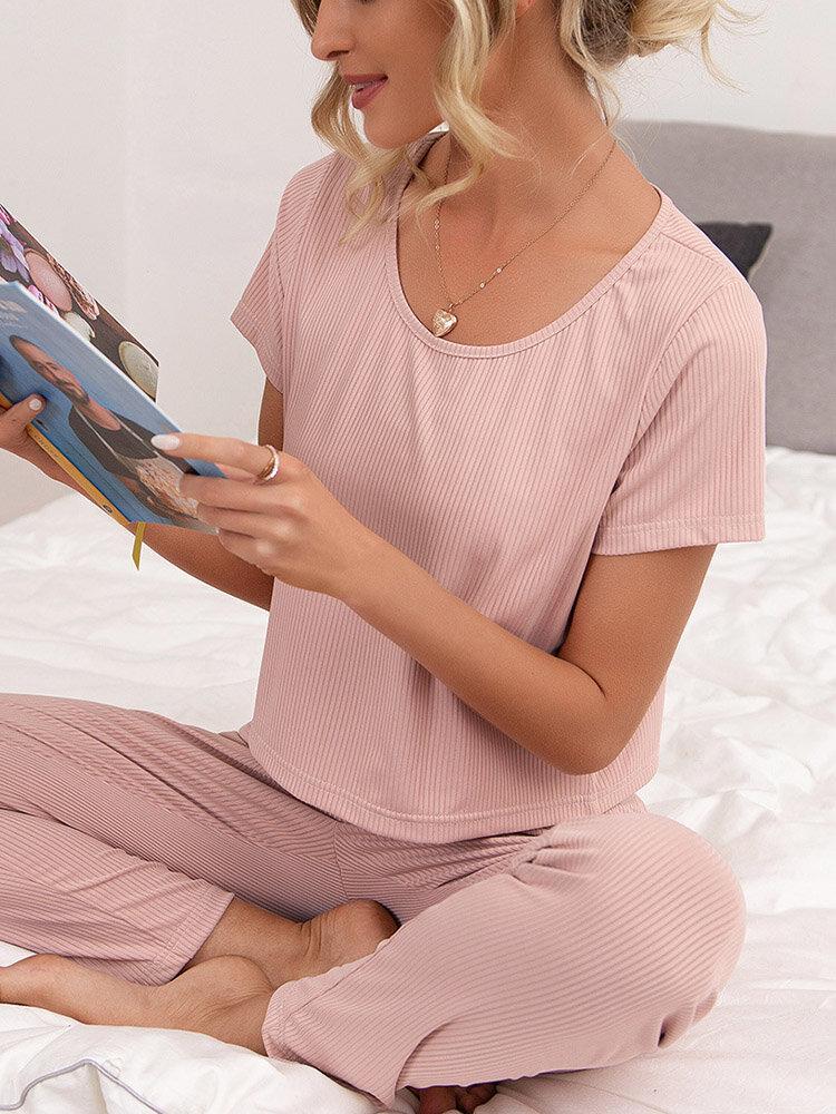 Женская однотонная футболка с коротким рукавом в рубчик и домашние пижамные комплекты Брюки
