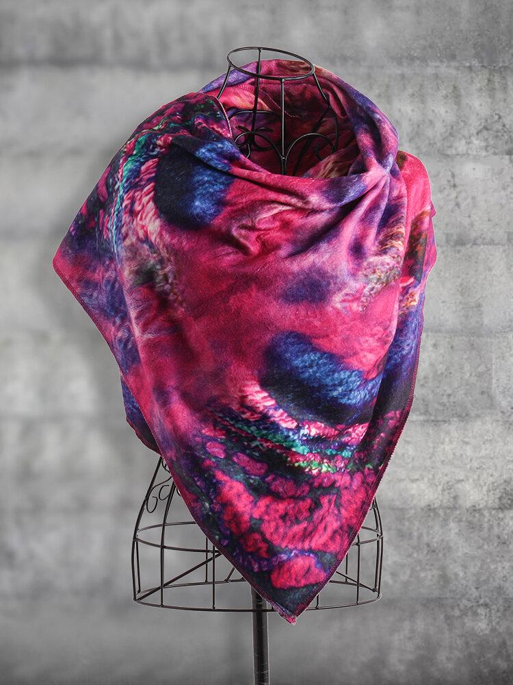 Women's Crimson Vintage Ethnic Flower Scarf Buttoned Crochet Wrap Pattern