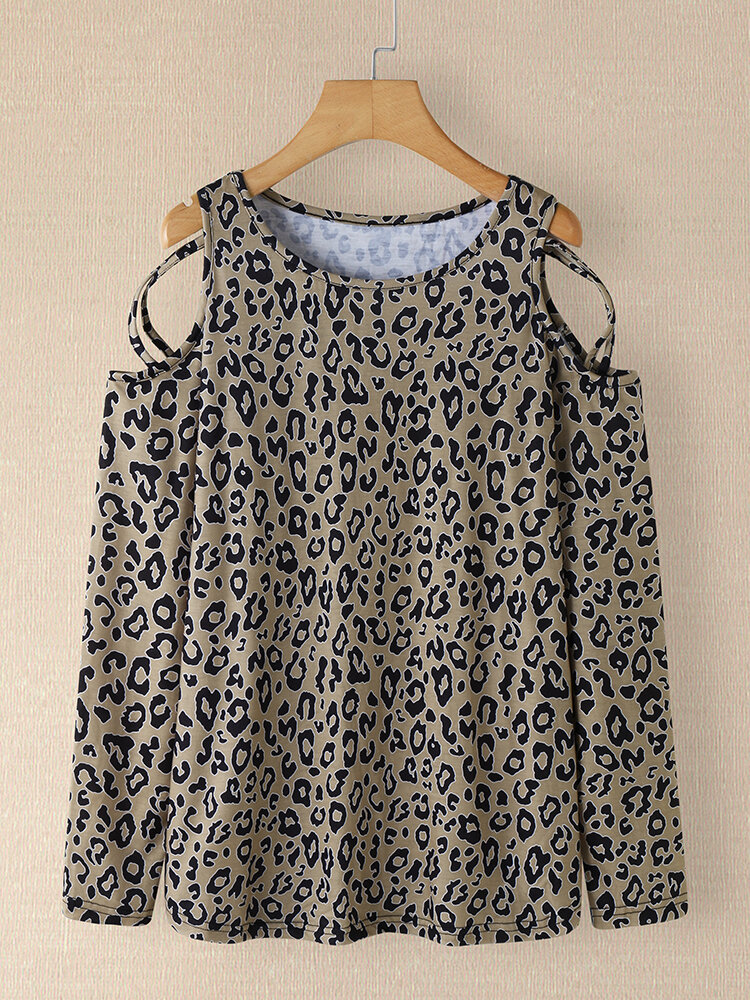 Leopard Print Tie Dye Off-shoulder Long Sleeve Women T-shirt