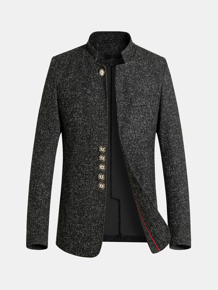 男性のための冬のビジネスカジュアルシングルブレストトレンチコートスタンドカラースリムフィットジャケット