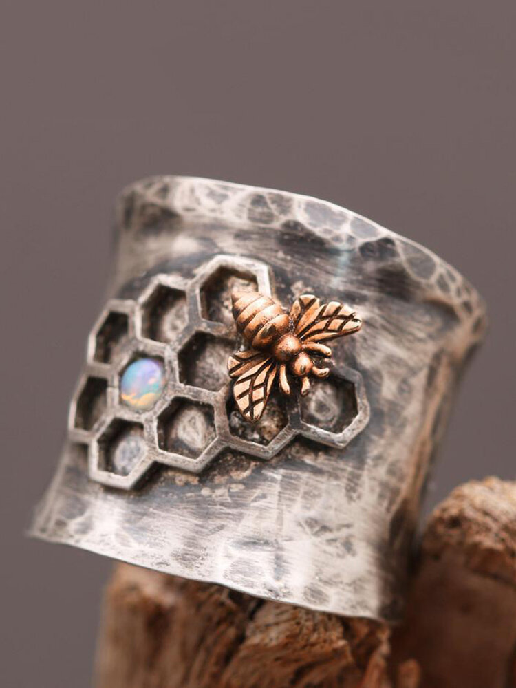 Vintage Carved Bird Women Ring Bee Honeycomb Ring Jewelry Gift