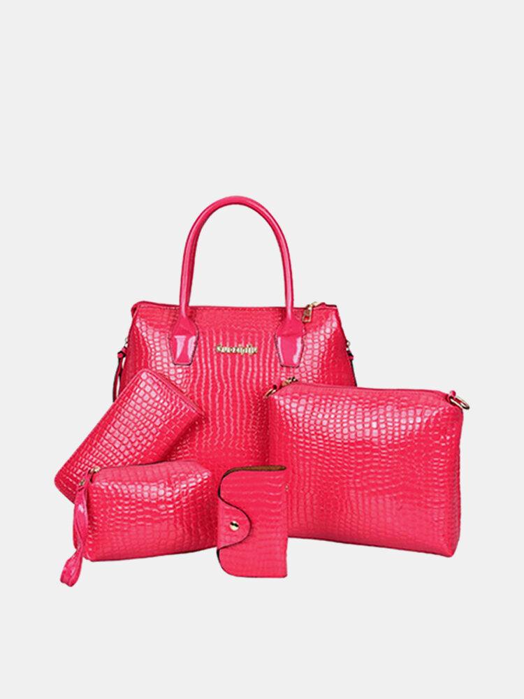 Women Fashion Crossbody Bags Set 6PCS Crocodile Print Bags