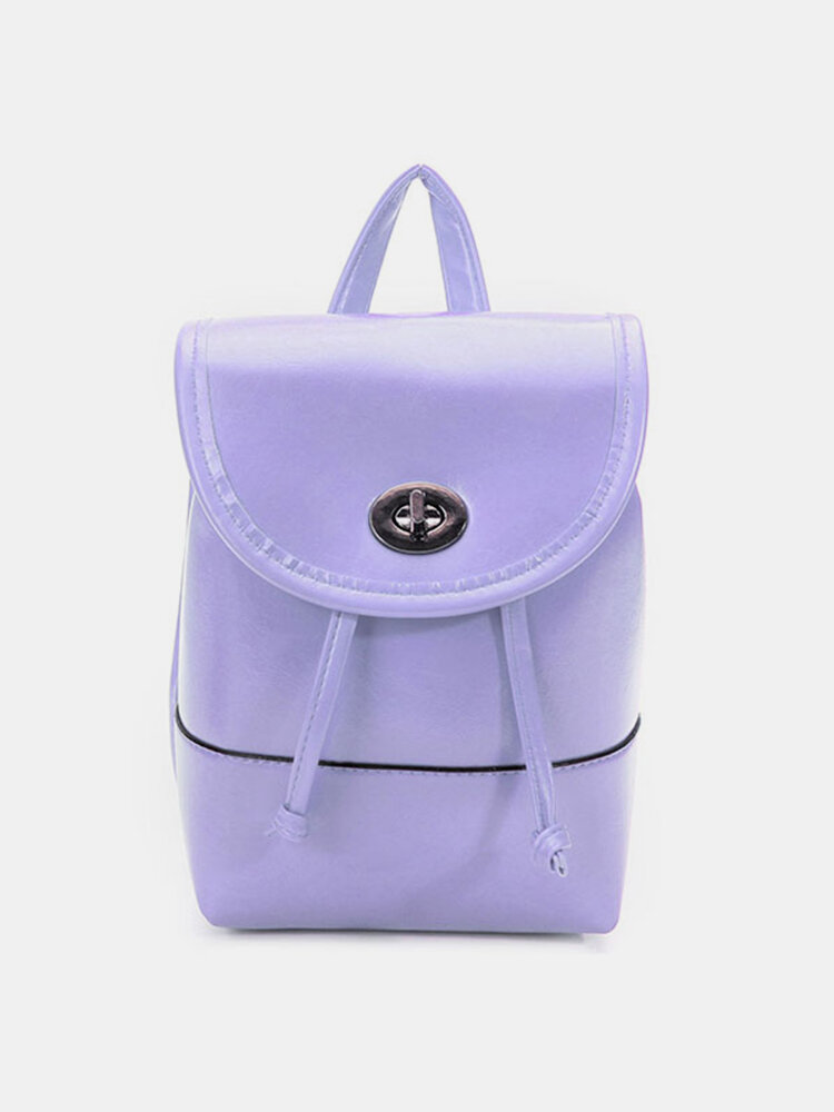 Fashion Women Candy Color Leather Backpack