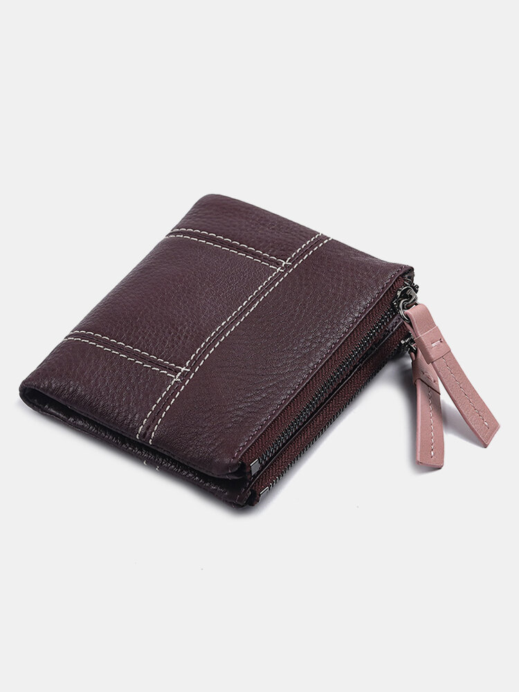 Women Genuine Leather Multifunction Multi-card Slots Coin Purse Money Clip Wallet